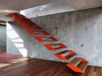 interior floating steel staircase