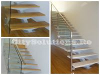 single stringer stair with glass railing